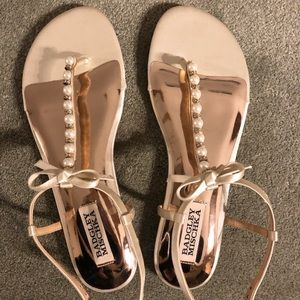 Badgley Mischka pearl sandals never worn